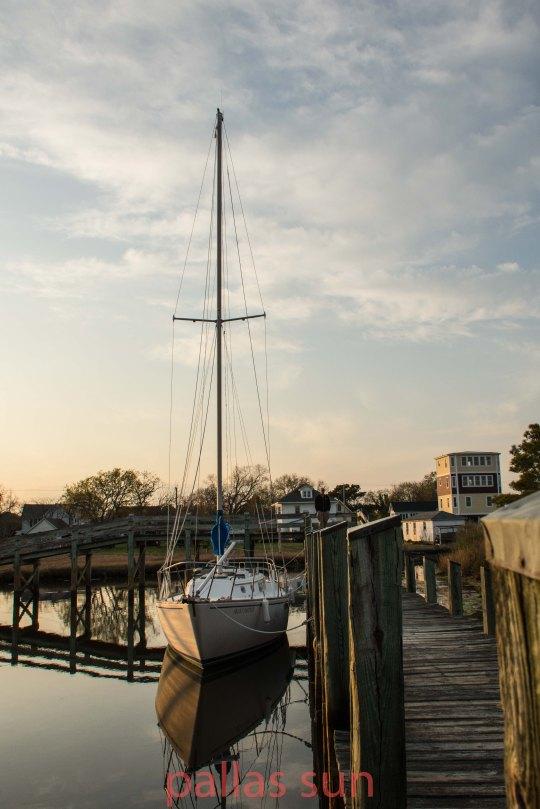 sunset on sail boat